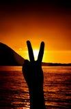 V-tecken på solnedgången Royaltyfria Bilder
