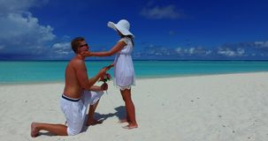 V14863 two 2 people proposal marriage romantic young couple holding hands on a tropical island of white sand beach and. Two 2 people proposal marriage romantic stock video