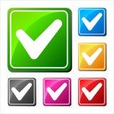 V - Un insieme di convalida di sei icone differenti Fotografia Stock
