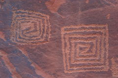 V-V Petroglyphen Stockfotos