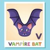 V is for Vampire bat. Letter V. Vampire bat, cute illustration. Animal alphabet. V is for Vampire bat. Letter V. Vampire bat, cute funny illustration. Animal Royalty Free Stock Images