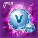 V Vanadium Vector. Mineral Blue Pill Icon. Vitamin Capsule Pill Icon. Substance For Beauty, Cosmetic, Heath Promo Ads. Design. Mineral Complex With Chemical Stock Photography