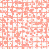 V. Ector seamless pattern, pink tile with inc splash, blots, smudge and brush strokes. Grunge endless template for web background, prints, wallpaper, surface stock illustration