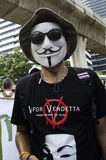 V for Vendetta. BANGKOK, July 14: Anti-government protestors supporting the white-mask movement against corruption in the Yingluck Shinawatra government gathered Royalty Free Stock Photos