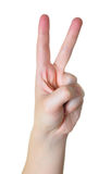 V for Victory. Hand making the Victory sign isolated in white background Royalty Free Stock Photography