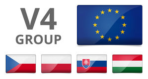 V4 Visegrad group country flag Stock Images