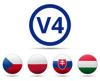 V4 Visegrad group country flag Royalty Free Stock Images