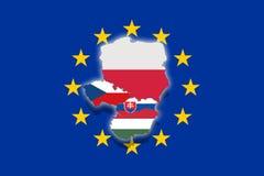V4 Visegrad group on Euro flag, Poland, Czech Republic, Slovakia, Hungary Stock Photography