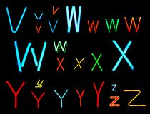 V W X Y Z Neon Letters Royalty Free Stock Photos