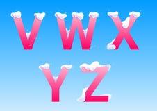 V, W, X, Y, z-brieven met sneeuwkappen stock afbeeldingen