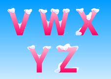 V, W, X, Y, z-Buchstaben mit Schneekappen stockbilder