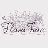 V?xande blommor f?r en lantg?rd Typografiska etiketter, klisterm?rkear, logoer och emblem ocks? vektor f?r coreldrawillustration royaltyfri illustrationer