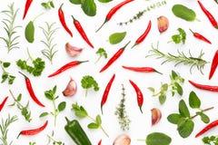 V?xt- sidor f?r krydda och chilipeppar p? vit bakgrund Gr?nsakmodell Blom- och gr?nsaker p? vit bakgrund Top besk?dar royaltyfri foto