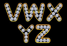 V - Y letters incrusted with diamonds Royalty Free Stock Photography