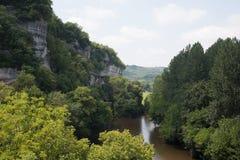 The Vézère River and La Roque St-Christophe Stock Images
