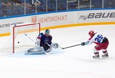 V. Zelepukin (25) attack M. Sokolov (39) Stock Photos