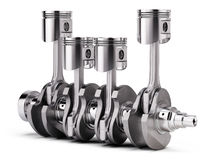 V4 engine pistons and crankshaft on white background