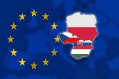 Free V4 Visegrad Group On Blured Europe Background And Euro Flag, Poland, Czech Republic, Slovakia, Hungary Stock Photo - 80485520