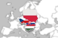 Free V4 Visegrad Group On Blured Europe Background, Poland, Czech Republic, Slovakia, Hungary Stock Photography - 80484992