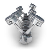V8 engine pistons. 3D image Royalty Free Stock Image