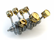 V8 engine pistons Royalty Free Stock Photos