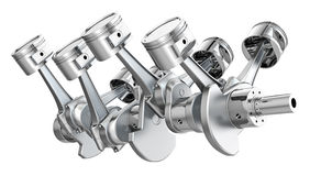 V8 engine pistons on a crankshaft Stock Image