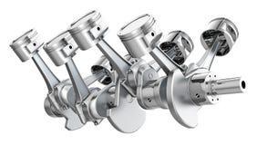 V8 engine pistons on a crankshaft Stock Image