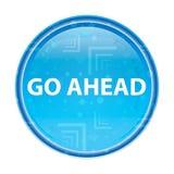 Va avanti il bottone rotondo blu floreale illustrazione di stock
