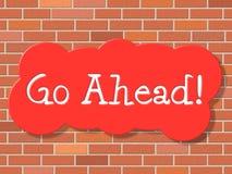 Va avanti indica comincia e la pubblicità Fotografie Stock