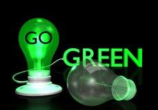 Va el bulbo de la luz verde Foto de archivo libre de regalías
