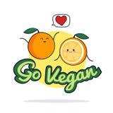 Va el cartel del vegano Personajes de dibujos animados anaranjados divertidos Ilustración del vector Fotografía de archivo libre de regalías