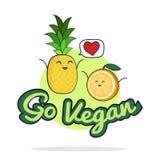 Va el cartel del vegano Personajes de dibujos animados divertidos de la naranja y de la piña Ilustración del vector Imágenes de archivo libres de regalías