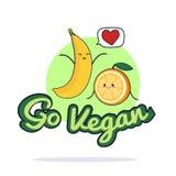 Va el cartel del vegano Personajes de dibujos animados divertidos de la naranja y del plátano Ilustración del vector Imágenes de archivo libres de regalías
