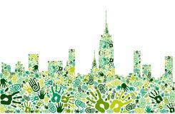Va el fondo verde del horizonte de la ciudad de las manos Foto de archivo