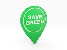 Va el icono verde del concepto - imagen de la representación 3D Imagen de archivo libre de regalías