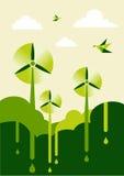 Va el parque verde de la viento-turbina Imagenes de archivo
