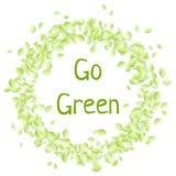 Va el texto verde en una guirnalda de hojas verdes circunda el ornamento Imagen aislada vegano del vector de Eco stock de ilustración