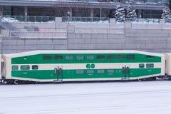 VA el tren en la nieve Imagen de archivo libre de regalías