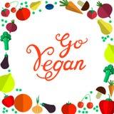 Va el vegano Ejemplo dibujado mano orgánica sana fresca del vector de la comida del vegano Fotografía de archivo