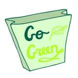 va el verde Panier con letras dibujadas mano Imágenes de archivo libres de regalías