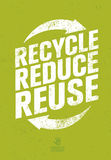 Va el verde recicla reduce concepto del cartel de Eco de la reutilización Ejemplo orgánico creativo del vector en fondo áspero ilustración del vector