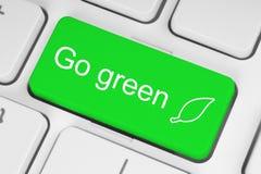 Va il bottone verde immagine stock