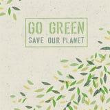Va il concetto verde su struttura di carta riciclata Vettore Immagine Stock Libera da Diritti