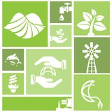 Va il fondo verde, icone dell'ambiente Immagini Stock