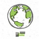 Va il manifesto verde di concetto con terra Vettore Fotografia Stock
