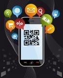 Va il social via Smartphone: Codice app di QR sul nero Immagine Stock