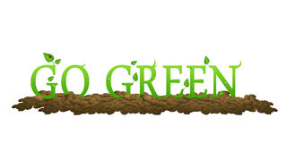 Va il verde con i fogli ed il ladybug Fotografia Stock