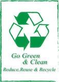 Va il verde e pulito-riduce la riutilizzazione e ricicla Fotografia Stock Libera da Diritti