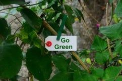 Va il verde, tenuta della carta da una molletta da bucato nella natura Fotografia Stock