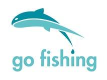 Va l'elemento di disegno di marchio di vettore di pesca Immagine Stock